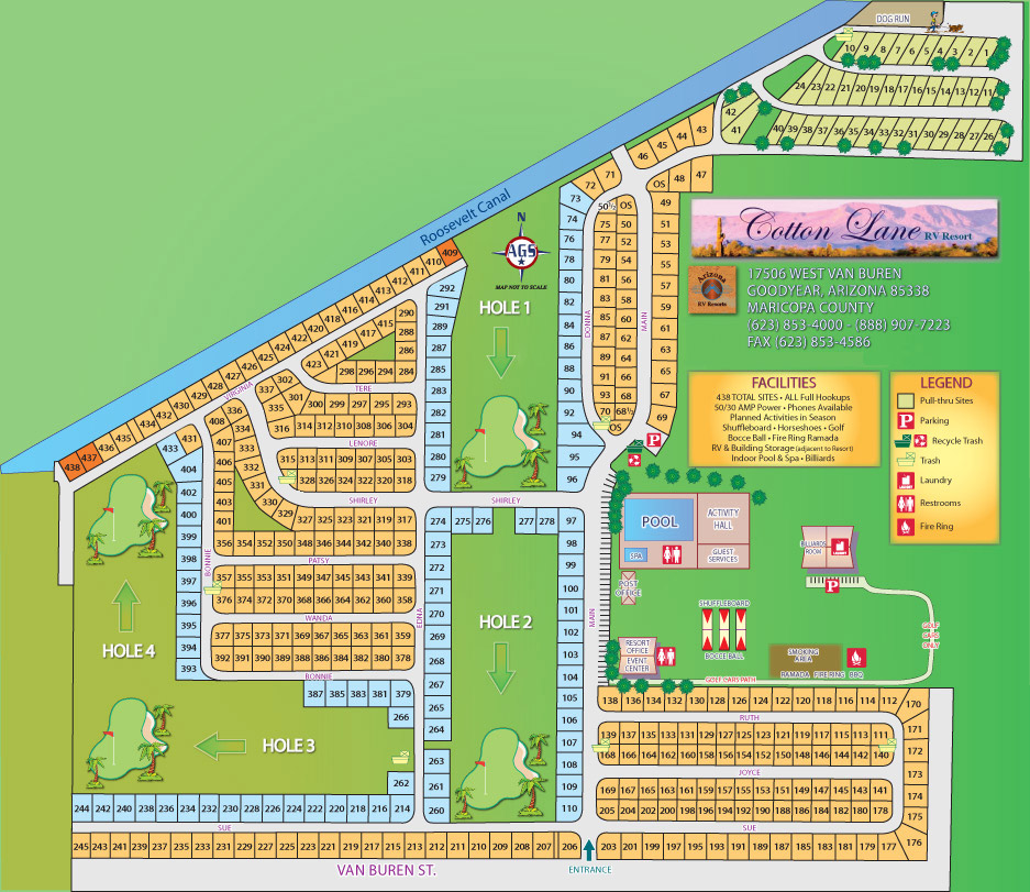 Park Map & Space Layout - Cotton Lane Resort - 55+ Resort Community Arizona Rv Parks Map on